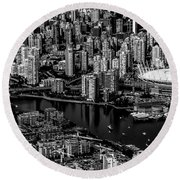 Fly Over Vancouver Bandw Round Beach Towel