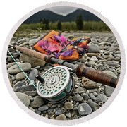 Fly Rod And Streamers Landscape Round Beach Towel