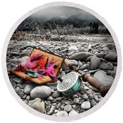 Fly Rod And Streamers Portrait Round Beach Towel