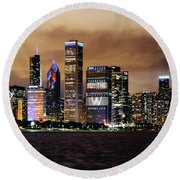 Cubs World Series Chicago Skyline Round Beach Towel by Horsch Gallery