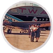 Fly Twa The Lindberg Line By Henry Bosis Round Beach Towel