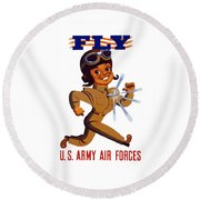 Fly - Us Army Air Forces Round Beach Towel