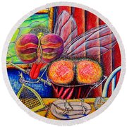 Round Beach Towel featuring the painting fly by Viktor Lazarev