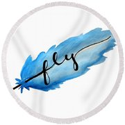 Fly Watercolor Feather Horizontal Round Beach Towel