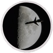 Round Beach Towel featuring the photograph Flyby by Norman Peay