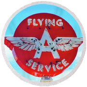Flying A Service Sign Round Beach Towel