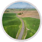 Flying Above Palouse Round Beach Towel