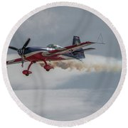 Flying Acrobatic Plane Round Beach Towel