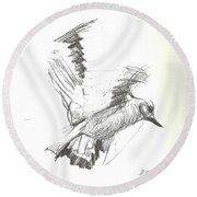 Flying Bird Sketch Round Beach Towel