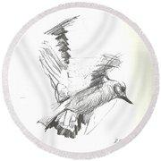 Flying Bird Sketch Round Beach Towel by Denise Fulmer