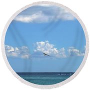 Round Beach Towel featuring the photograph Flying By The Sea by Francesca Mackenney