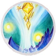 Flying Crystals. Storage Of Energy. Space Fantasy Round Beach Towel