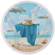 Flying Fish Round Beach Towel