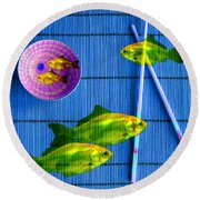 Flying Fish And The Pink Moon Round Beach Towel