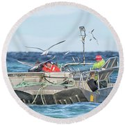 Round Beach Towel featuring the photograph Flying Fish by Randy Hall