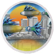 Flying Fisque  Round Beach Towel