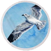 Flying Gull Round Beach Towel