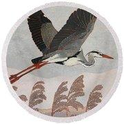 Flying Heron Round Beach Towel