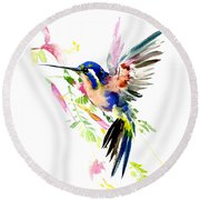 Flying Hummingbird Ltramarine Blue Peach Colors Round Beach Towel by Suren Nersisyan