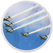 Round Beach Towel featuring the photograph Flying In Formation by Kristin Elmquist
