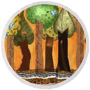 Flying In The Forest Round Beach Towel