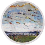 Flying Kites Over Gratwick Park Round Beach Towel