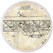 Flying Machine Patent 1903 - Vintage Round Beach Towel