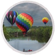 Flying Over The Androscoggin Round Beach Towel