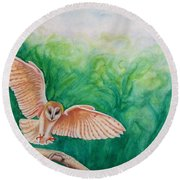 Round Beach Towel featuring the painting Flying Owl by Steed Edwards