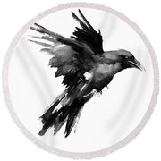 Flying Raven Round Beach Towel