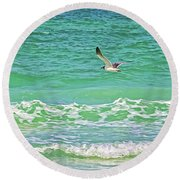 Flying Solo Round Beach Towel by HH Photography of Florida