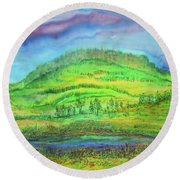 Round Beach Towel featuring the painting Flying Solo by Susan D Moody