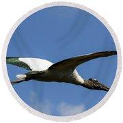 Flying Stork-no Baby Round Beach Towel