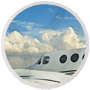 Round Beach Towel featuring the photograph Flying Time by Carolyn Marshall