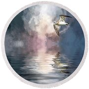Flying Towards The Light Round Beach Towel by Cyndy Doty