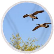 Flying Twins Round Beach Towel