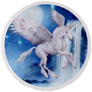 Flying Unicorn Round Beach Towel