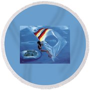 Flying Windsurfer Round Beach Towel