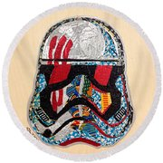 Storm Trooper Fn-2187 Helmet Star Wars Awakens Afrofuturist Collection Round Beach Towel