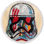 Round Beach Towel featuring the tapestry - textile Storm Trooper Fn-2187 Helmet Star Wars Awakens Afrofuturist Collection by Apanaki Temitayo M