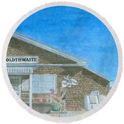 Round Beach Towel featuring the painting F.o. Goldthwaite by Dominic White
