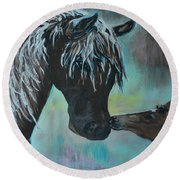 Round Beach Towel featuring the painting Foal Kiss by Leslie Allen