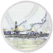 Round Beach Towel featuring the photograph Foamy Sea At The Breakwater by Nareeta Martin