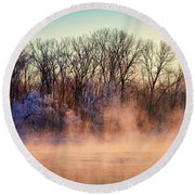 Fog And Frost On The Wisconsin River 2017-1 Round Beach Towel