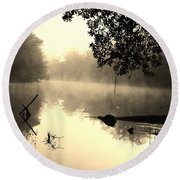 Fog And Light In Sepia Round Beach Towel by Warren Thompson