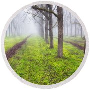 Fog And Orchard Round Beach Towel