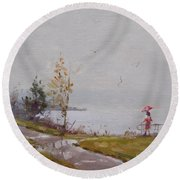 Fog And Rain At Gratwick Waterfront Park Round Beach Towel