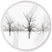 Fog And Winter Black Walnut Trees  Round Beach Towel by Angie Rea