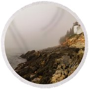 Round Beach Towel featuring the photograph Fog At Bass Harbor Lighthouse by Jeff Folger
