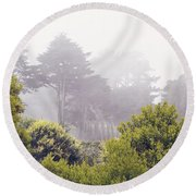 Round Beach Towel featuring the photograph Fog At Lands End by Cindy Garber Iverson